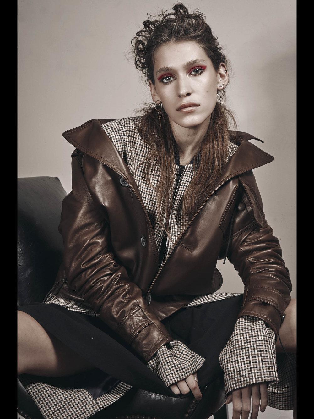Lanvin leather jacket , Agi & Samtrench, 3.1 Phillip Lim shorts