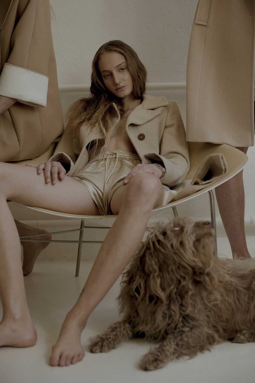 Chantal wears Samsøe Samsøe shorts and Jil Sander coat