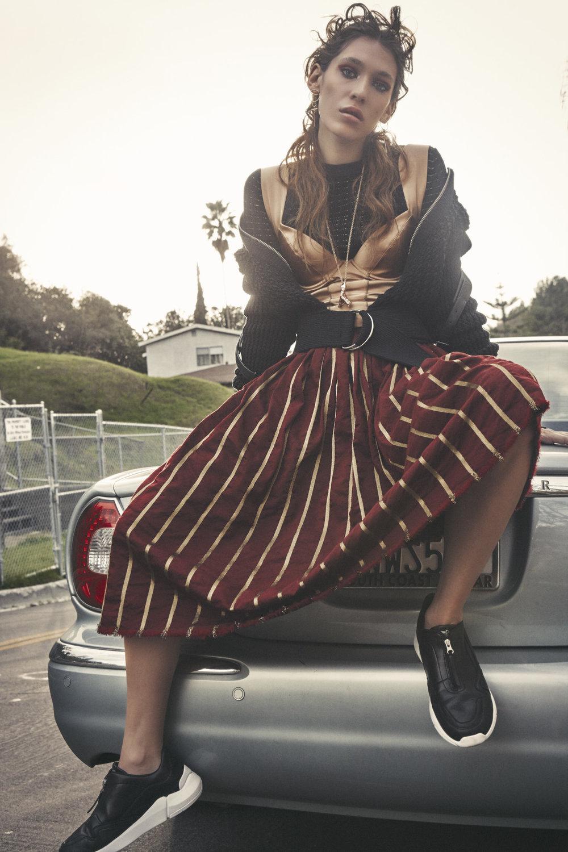 3.1 Phillip Lim cotton jacket,Murmur corset,Uma Wang skirt,Creative Recreaction sneakers,ARMATURE necklace