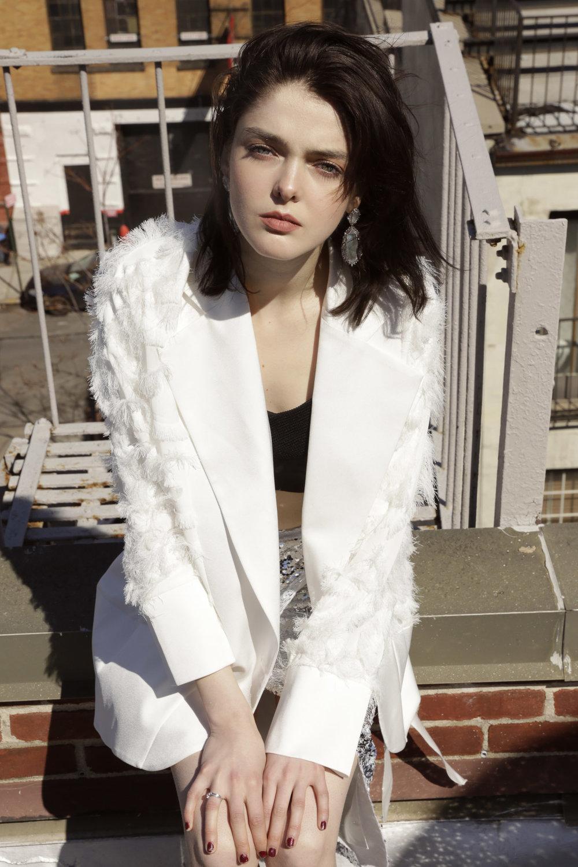 Luvon jacket and skirt, Anthony Manfredonia bandeau