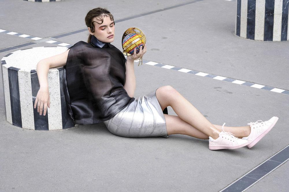 Sina Noori dress, Zadie & Voltaire skirt, Wolford tights, Adidas sneakers, Manish Arora purse