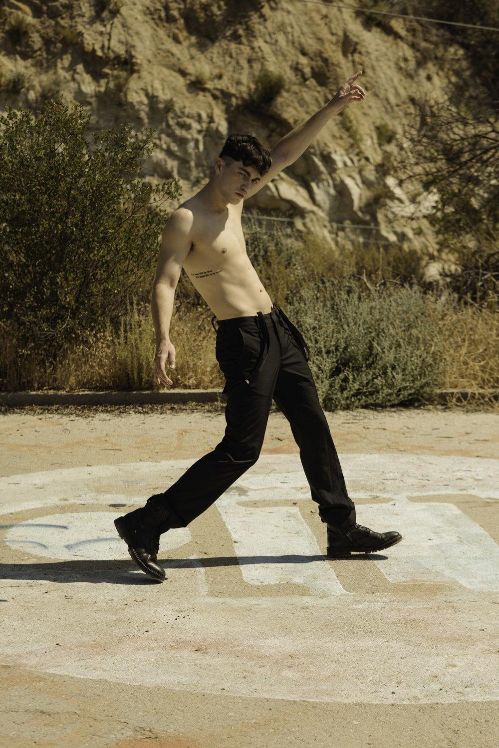 H&M suspenders,Kenneth Cole pants, All Saints boots
