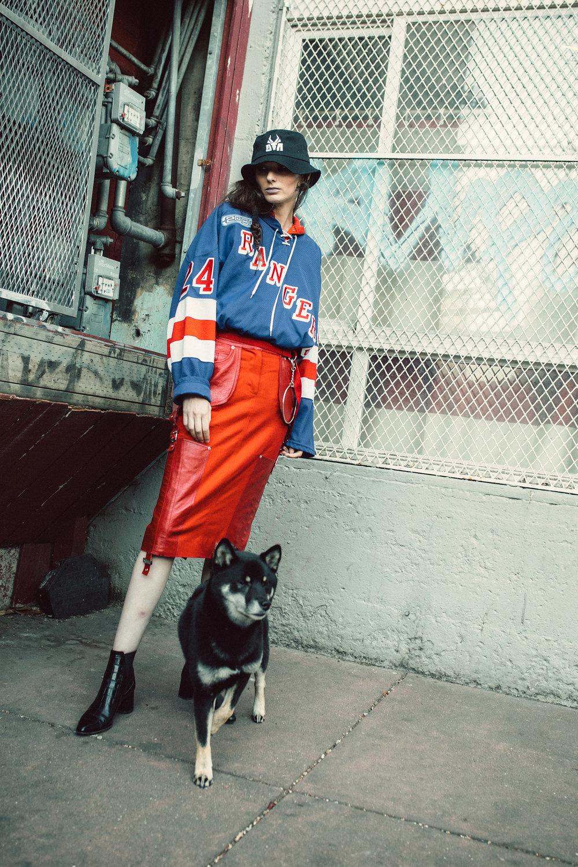 Die Antwoord hat,Vintage jersey,Adidas sweatshirt,Dior skirt,Sigerson Morrison shoes