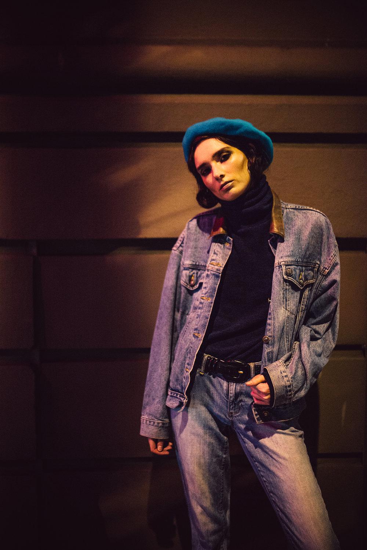 Black & Brown hat,Express jacket,Monki turtleneck,Levi's jeans,Alaia belt