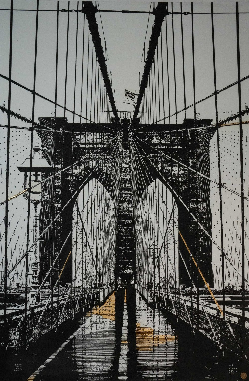 Brooklyn Bridge, 2017 White Sand, Black Sand, Gold Adhesive, Varnish on Aluminium Panel 79.53h x 53.15w in Part of the US Bridges Series 1/3