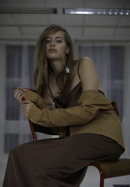 Base Range silk dress,Blitz London shirt,ERIKA arm cuff,Stylist's own earrings