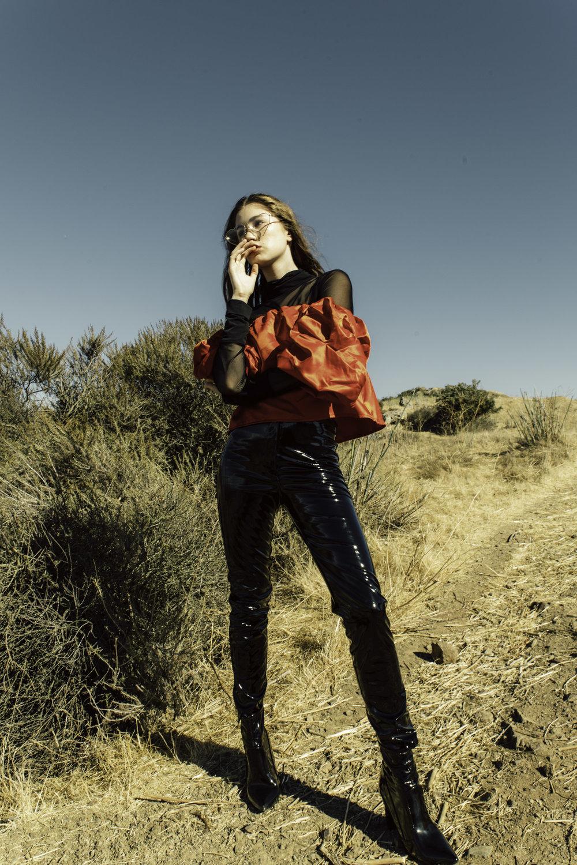 Jean Paul Gaultier Mesh top,Stylist's own top,Saint Laurent vinyl pant,Topshop Boots