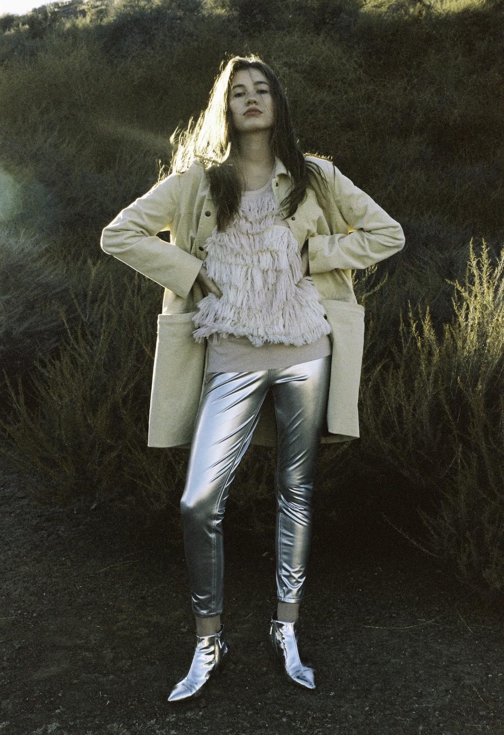 Ganni yellow jacket,Ryan Roche sweater,Saint Laurent pants,Vintage silver boots