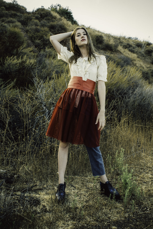 Vintage Frilly Blouse,Marni Red skirt,Acne denim,Stella Mccartney platforms