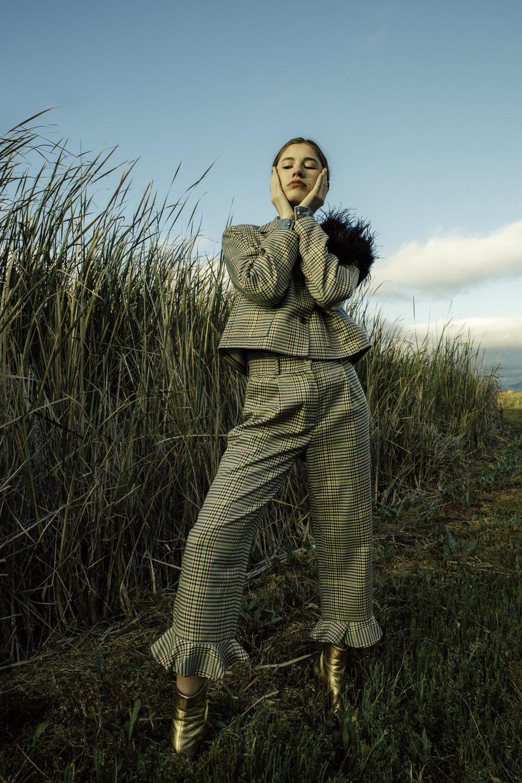 Thrifted plaid suit,Kooples denim shirt,KYE Fur,Sandro gold boots