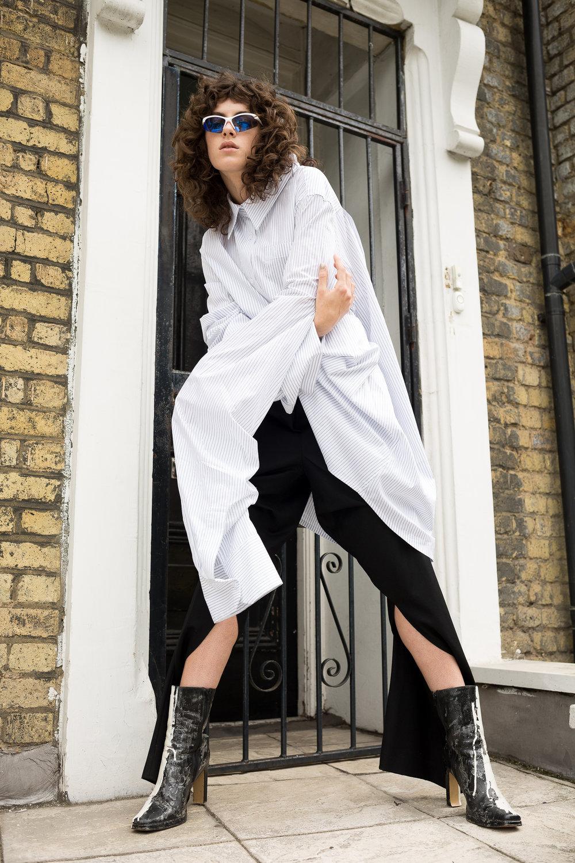 Anastasia Selivanova shirting dress,Ingrid Kraftchenko shoes