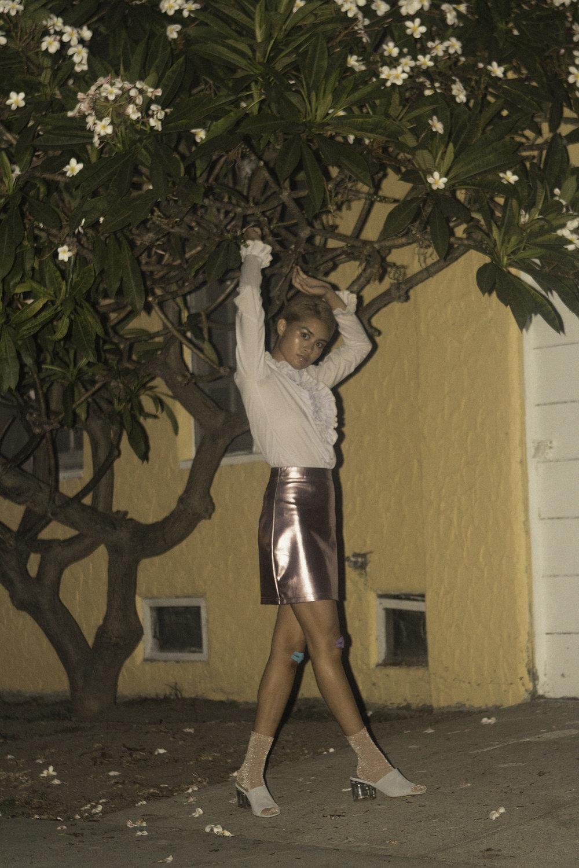 Blouse Vintage by  —SATELLITE VINTAGE CO.Skirt  —TOPSHOP Socks  —H&M Shoes  —STEVE MADDEN