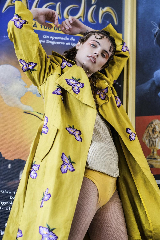 Manish Arora Loves Derhy trench,Couture Paris underwear Wolford tights