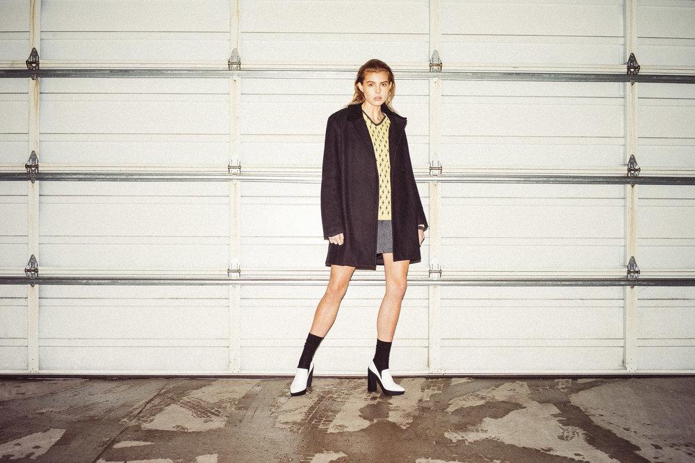 A.P.C. skirt & jacket,Vic Matie shoes,DKNY socks