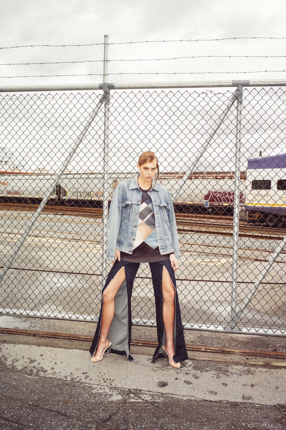 J Brand jeans (customized by stylist),JNBY shirt,Ego shoes,Levi's jacket