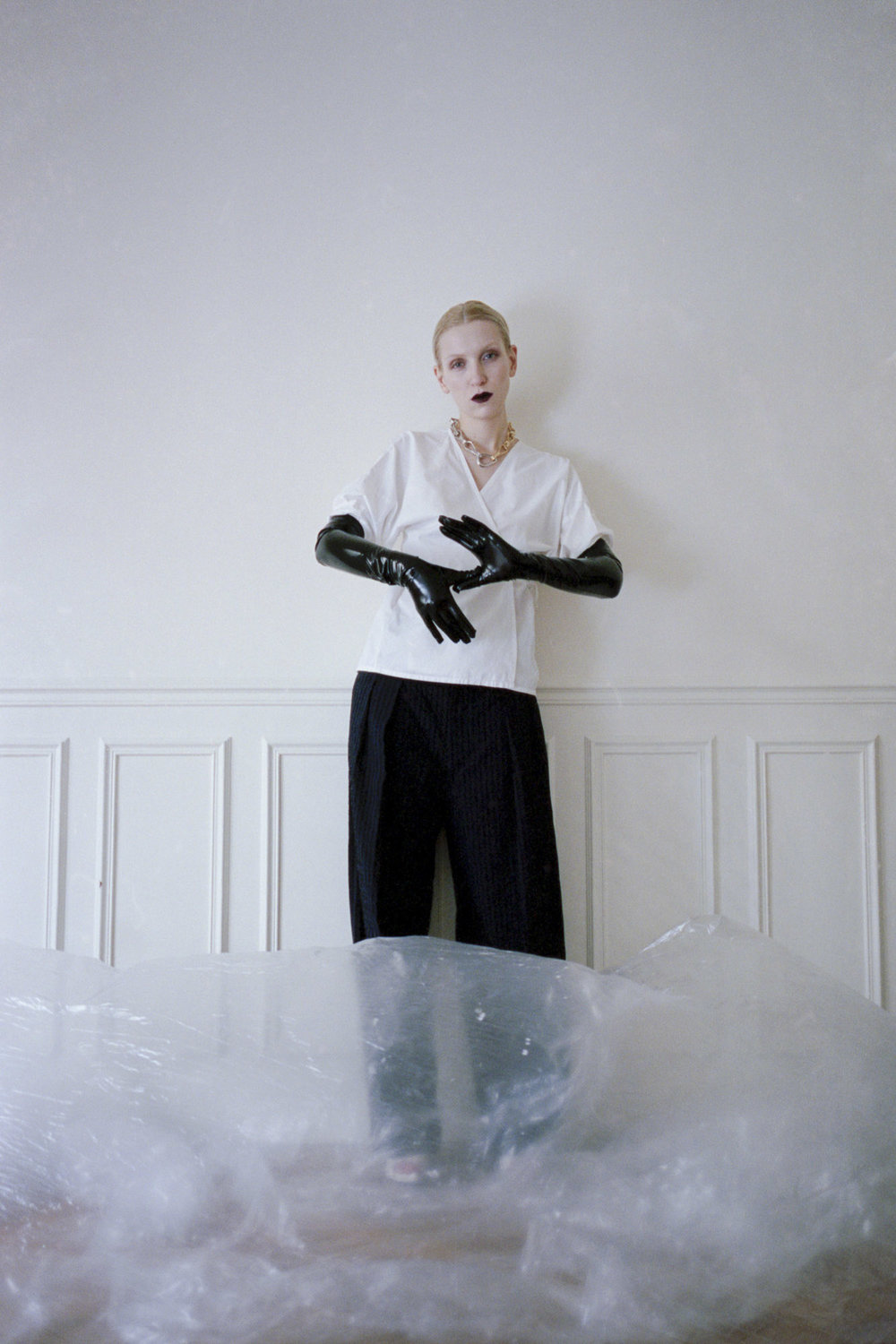Shirt by Maison Cleo, trousers Petia Zorec, gloves Stylit's own