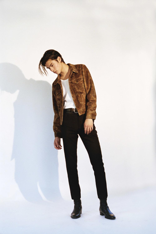 SAINT LAURENT jacket,pants and boots, WEEKDAY top, J. LINDBERGH belt