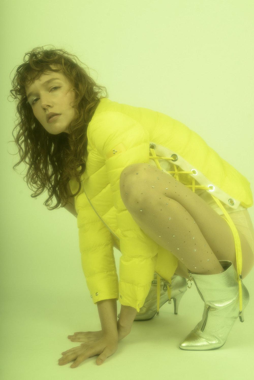Peuterey jacket,Vintage bustier,Elisabetta Franchi underwear,Jeremy Scott boots