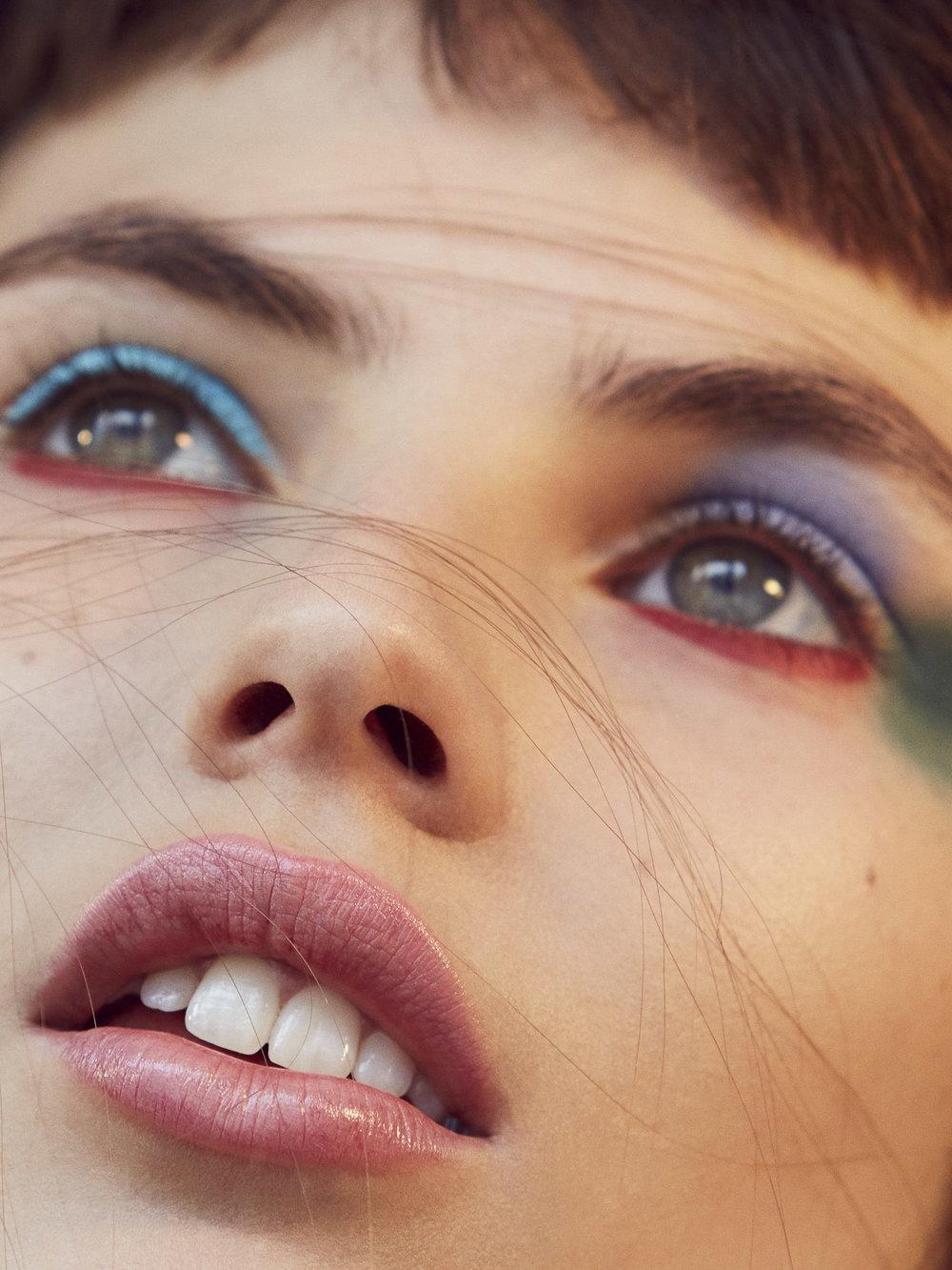 Jungle Red lipstick on lower eyelid