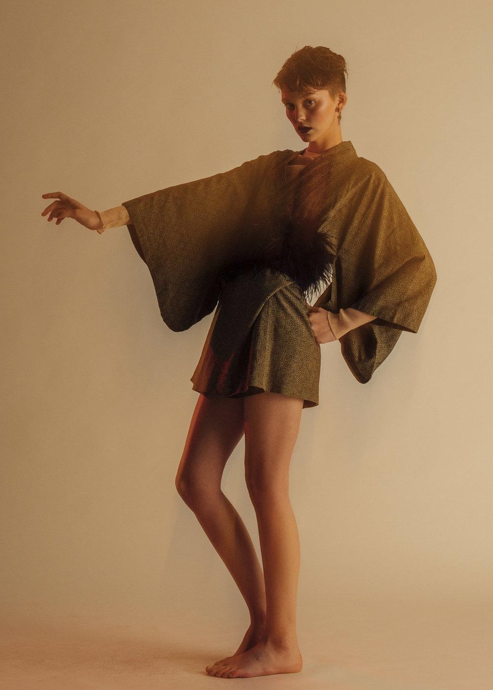 Stella McCartney top, Black & Brown coat,KYE belt