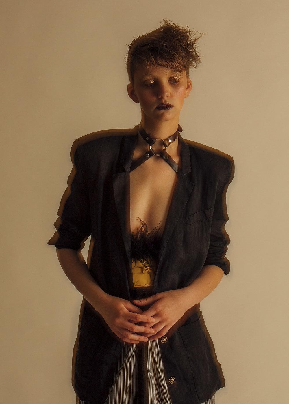 Zana Bayne choker, ACNE Studios blazer, Burberry & KYE belt,Jotaro Saito skirt