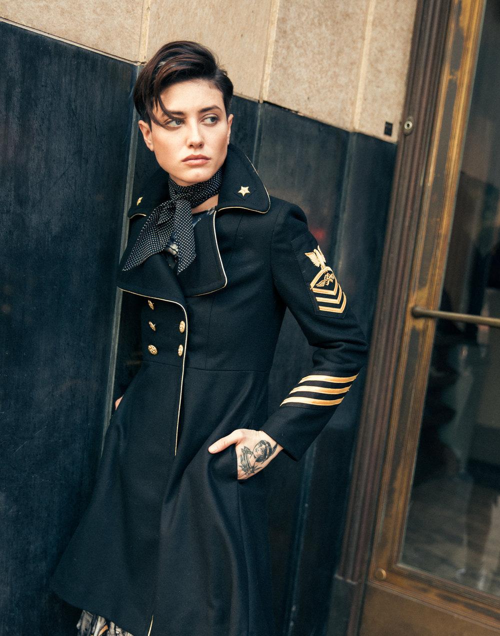 History Repeats Coat, Thomas Wylde Dress, Saint Laurent Neck Scarf