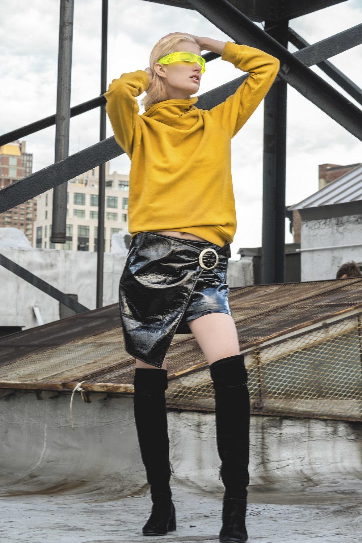 Each X Other Sweater, Mago skirt, Stuart Weitzan boots