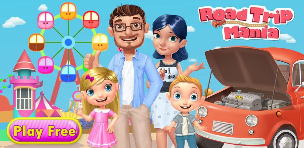 CRAZY FAMILY CAMPING ROAD TRIP  Take a rocky ride as you travel with your family in what must be the craziest road trip ever! In this fun and fast paced game, each destination on the map gives your family a new challenge, and it's up to you to guide them as they travel.