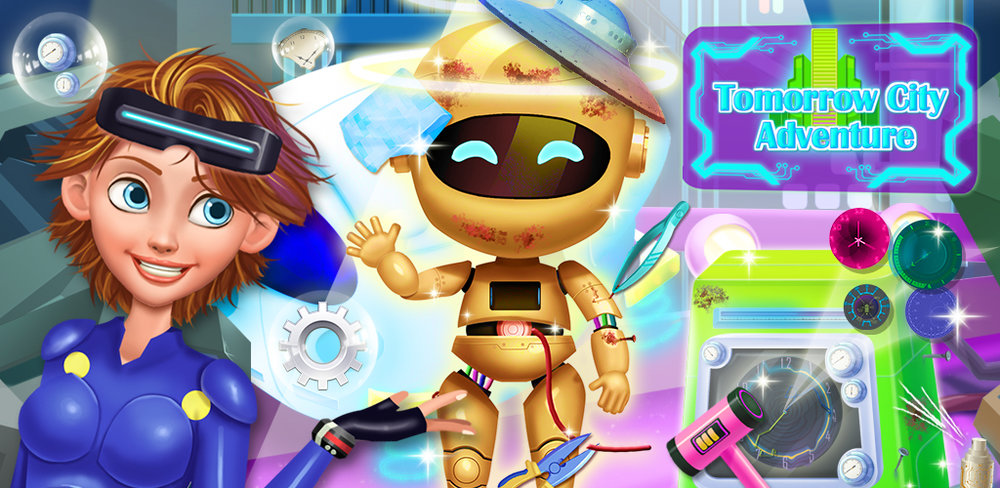 ROBOT KIDS TIME TRAVEL MISSION  ARE YOU READY FOR THE FUTURE? Ellen needs your help to go back home from the future! She went into the magic time channel accidentally, and found that she is in the future! Can you help her return to present day earth?