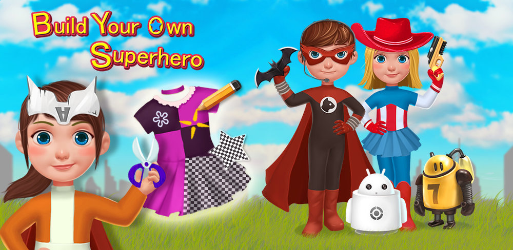 SUPER HERO ME - DIY & BUILDIT!  Build your very own superhero from scratch! Super Hero Me: Build & Create! is an amazing design and building game for kids that lets anyone create, paint and repair big robot heroes using different parts. Make a boy robot with huge muscles, girl robots that are faster than the speed of light, and more!