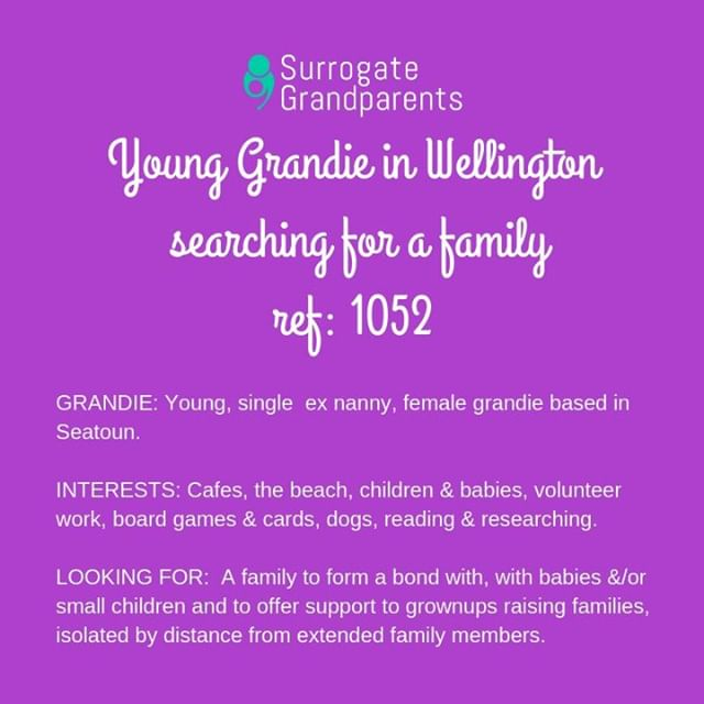 Young Grandie in Wellington available to support a family. Check out who else we have available on our website http://ow.ly/xwib50jAswo #surrogategrandparentsnz #grandie #adoptafamily
