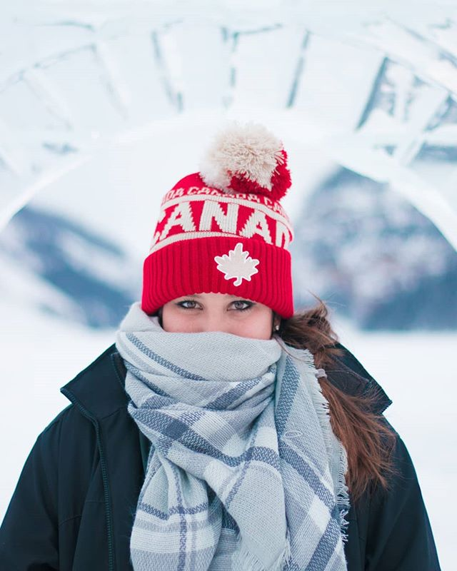 Frozen ice castles and 10 degree weather = the perfect excuse to buy a Canada beanie. #Canada . . . . . . #iflyalaska #canada #lakelouise #fairmont #fairmontcll #frozen #alberta #travel #explore #albertacanada #canada🇨🇦 #tourist #canon