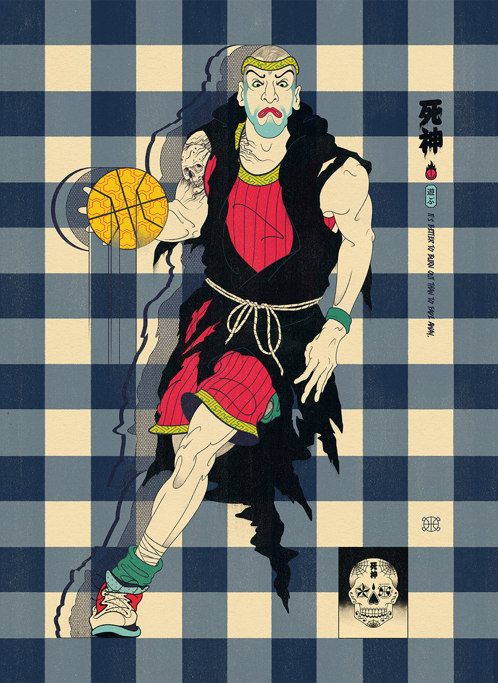 Edo Ball NBA Basketball Art - The Shinigami Reaper.
