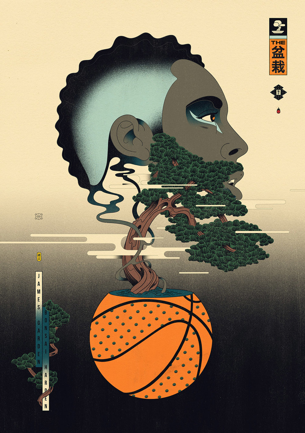 Edo Ball NBA Basketball Art - James Harden, Bonsai Garden.