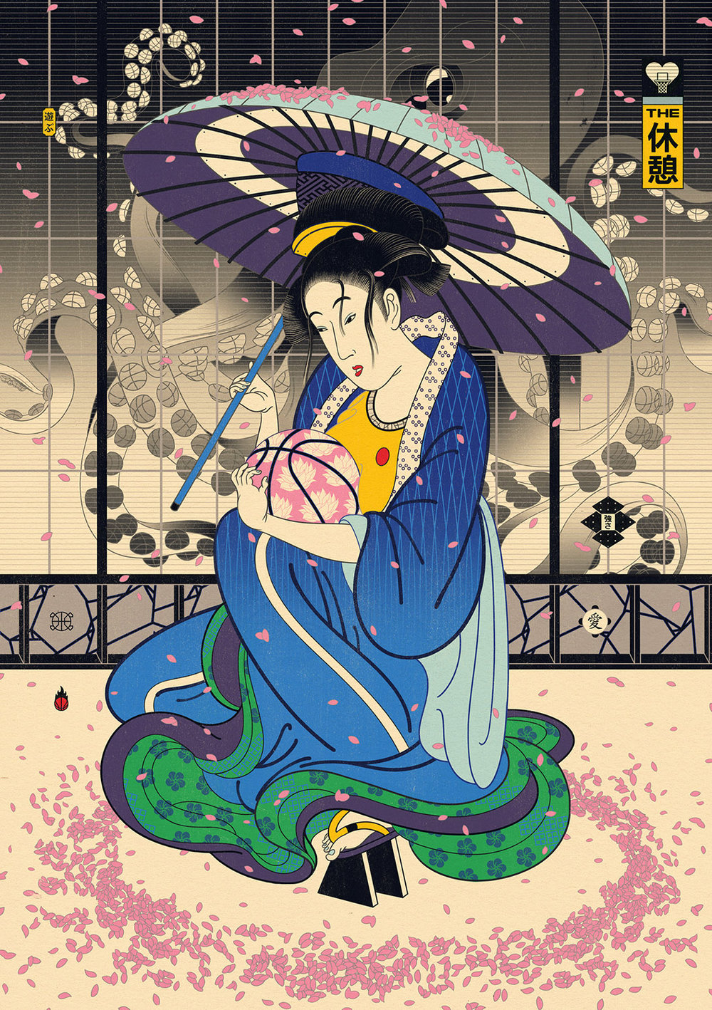 Edo Ball NBA Basketball Art - The Offseason Geisha