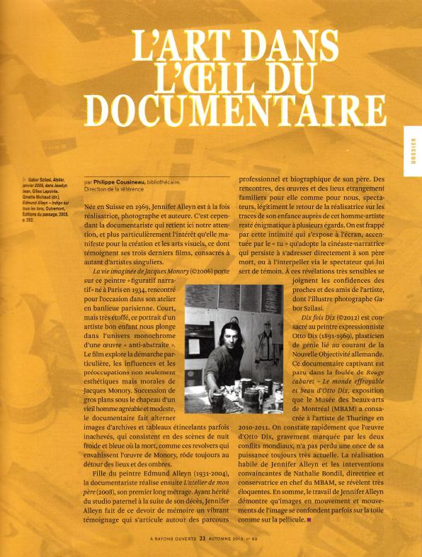 2013_Cousineau, Philippe, L'art dans l'oeil du documentaire, À rayons ouverts, no 93, automne 2013.jpg