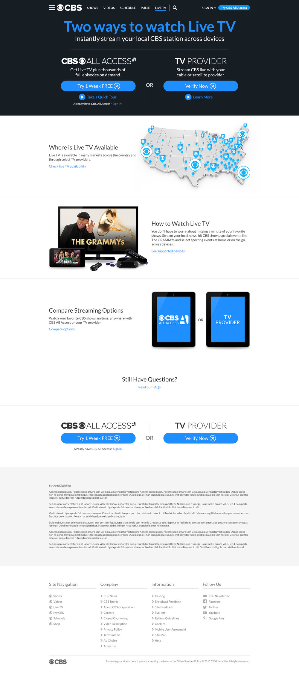 CBS ALL ACCESS: MVPD Authentication Live TV — Emily Jung