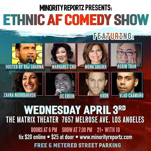 THIS WEEK don't miss comedienne, producer, activist and @artistsriseupla member MONA SHAIKH! Wed. Apr. 3rd 730pm Minority Reportz Presents Ethnic AF Comedy Show with Margaret Cho in West Hollywood. https://t.co/4b9NlJPBwL #standupcomedy #losangelescomedy  #artistsriseupla #comedy #laugh