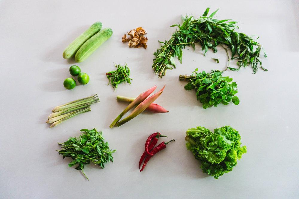 Laksa herbs and garnishes