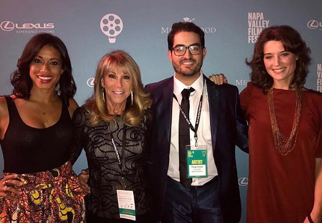 Tonight on the red carpet at @napafilmfest, Chocolate's cast and crew led by @dru2110 @thiagodadalt @pierceybits @amy.argyle. Thank you to all those who attended our screening and to @debcipolla for this photo.