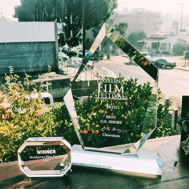 2 of #chocolate awards shining in this beautiful day in Los Angeles. Congratulations #chocolate team #shortfilm #awards #catalinaisland #catalinafilmfestival #manhattanfilmfestival #bestshort #heals #homeless #alzheimers #indiefilm #filmmatters