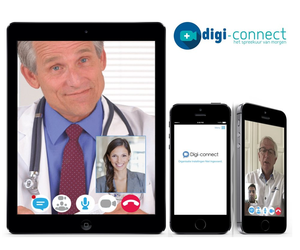 Digi-Connect   Digi-Connect is used by Dutch hospitals and physicians for scheduling and organizing online consultations. Skype for business is used for video calls. Application is developed for Android and iOS.   Backend  - Microsoft Azure - Skype for Business, - MSSQL   Frontend  - Native iOS app(Swift), - Native Android app(Java)