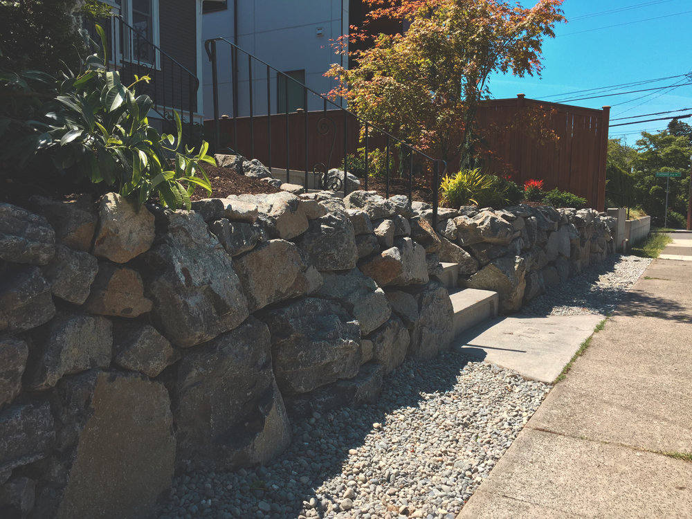 Rockery (Built with white river basalt)