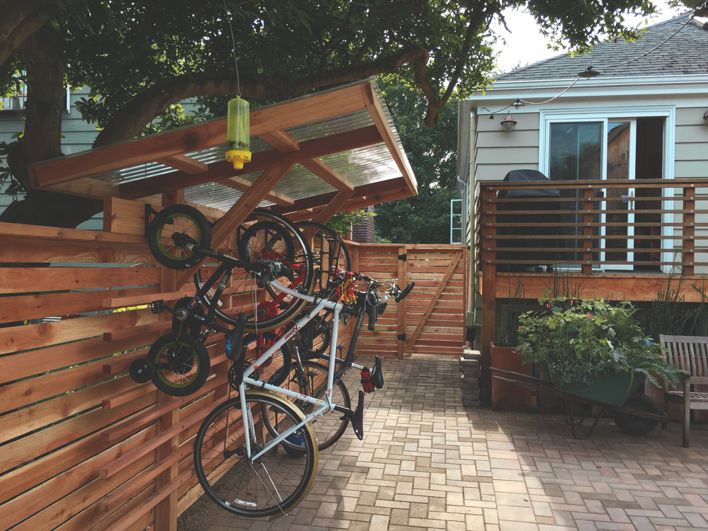 Covered hanging bike rack (Built with Tight Knot Cedar)