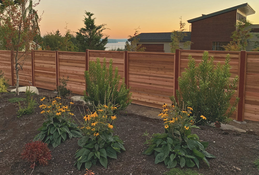 "Modern Horizontal Double Offset Pattern Fence  (Offset pattern composed of alternating double 2"" & 4"" rough cut fence boards. Built with all tight knot cedar lumber.)"