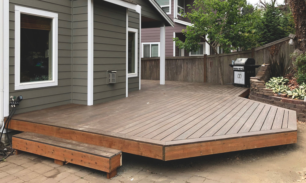 "Floating Trex deck  (Deck composed of 6"" decking. Built with Trex Transcend decking with hidden fasteners.)"