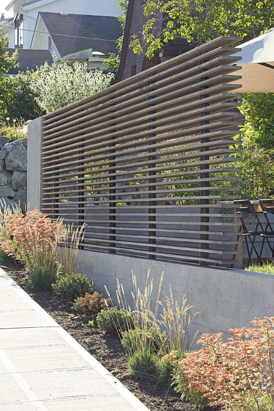 Modern Stacked Wood Horizontal Fence