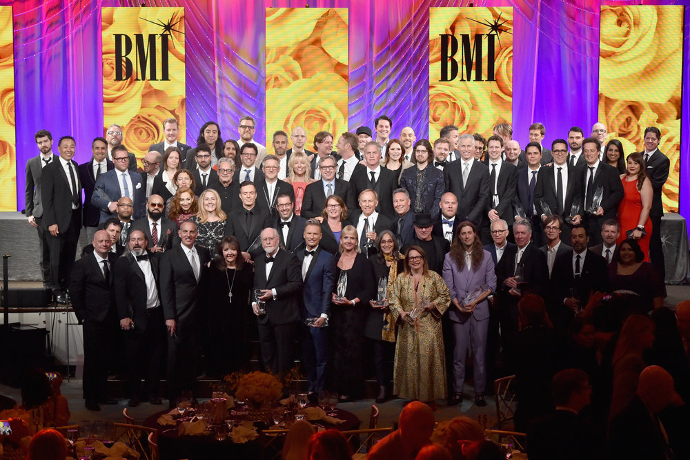 BEVERLY HILLS, CA - MAY 09:  Honorees pose with awards onstage during 34th Annual BMI Film, TV & Visual Media Awards at Regent Beverly Wilshire Hotel on May 9, 2018 in Beverly Hills, California.  (Photo by Lester Cohen/Getty Images for BMI)