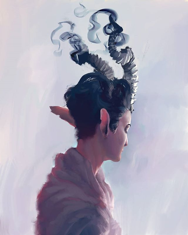 A tiefling warlock I painted for my #dungeonsanddragons group secret santa! Their name is Peet and they don't like rain.  #portrait #fantasyart #dnd #dndcharacter #devil #tiefling #warlock #art #artistsoninstagram #digitalpainting