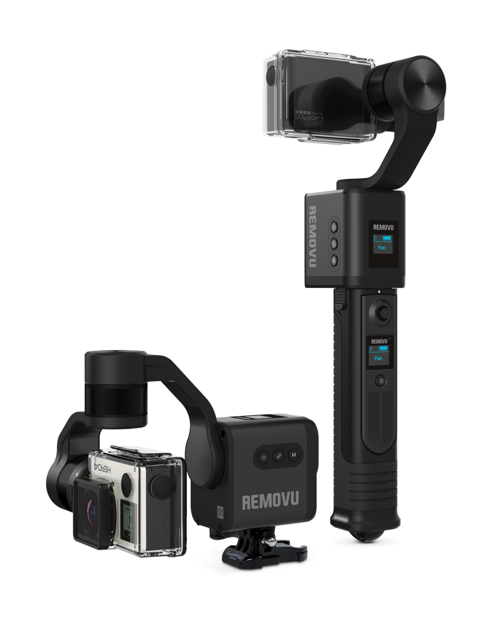REMOVU S1 - The S1 can be used anywhere where a GoPro can be mounted. A hemelt, a bike or your body, wherever it sticks. The detachable hand grip comes with a wireless joystick remote, which will allow you to control the gimbal from a distance.